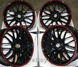 17 Black Red Motion Alloy Wheels Fits Ford Escort Focus Ka Puma Sierra 4x108