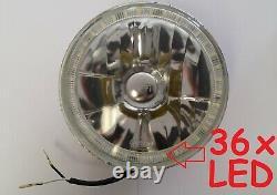 1pr Ford Cortina Mk1 Mk2 Escort White LED Halo 7 Round Headlights Lights