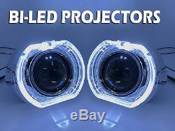 2 x 3 Full Bi-LED Retrofit Projectors Lens Halo Shroud like Xenon HID white