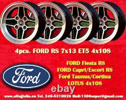 4 Cerchi FORD LOTUS TALBOT RS 7x13 ET+5 4x108 Escort Capri Taunus Cortina TUV