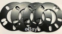 4 X 5mm BLACK UNIVERSAL ALLOY WHEEL SPACER SHIMS FOR FORD 4X108 M12 N