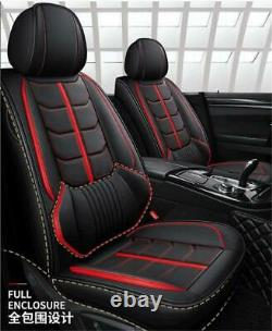 Full Surrounded Car Seat Covers Black/Red Leather Front+Rear For 5-Seats Car SUV
