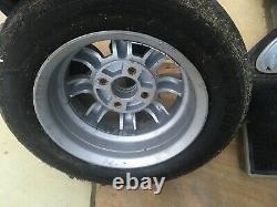 Minilite Style Alloy Wheels Set Of 4. Ford Escort, Cortina, Anglia Etc