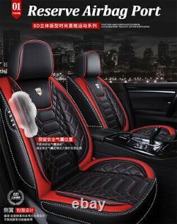 Premium Car Seat Covers Black/Red PU Leather Full Set For Interior Accessories