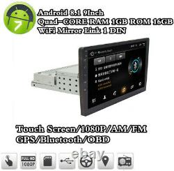 Single 1Din Android 8.1 9inch Quad Core Car Stereo MP5 Player GPS FM Radio WiFi