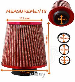UNIVERSAL RED UNIVERSAL PERFORMANCE FLOW AIR FILTER & ADAPTERS Ford 1