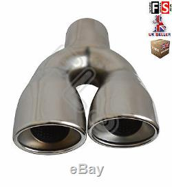UNIVERSAL STAINLESS STEEL EXHAUST TAILPIPE 2.25 INLET TWIN PAIR-Ford 1