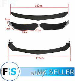Universal 3 Pcs Front Splitter Front Lip Spoiler Gloss Black Easy Rotate-frd1