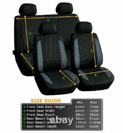 Universal 8 Piece Car Seat And Headrest Cover Set Black/grey-a019g Frd1
