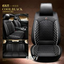 Universal Black White Full Set Seat Covers PU Leather Car Seat Cushion Protector