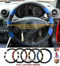 Universal Faux Leather Steering Wheel Cover Black/blue 37-39 CM 1013-frd1