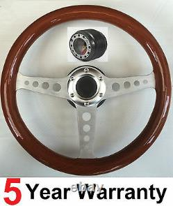 Wood Wooden Steering Wheel And Boss Kit Fit Ford Capri Mk1 Mk2, Cortina, Escort